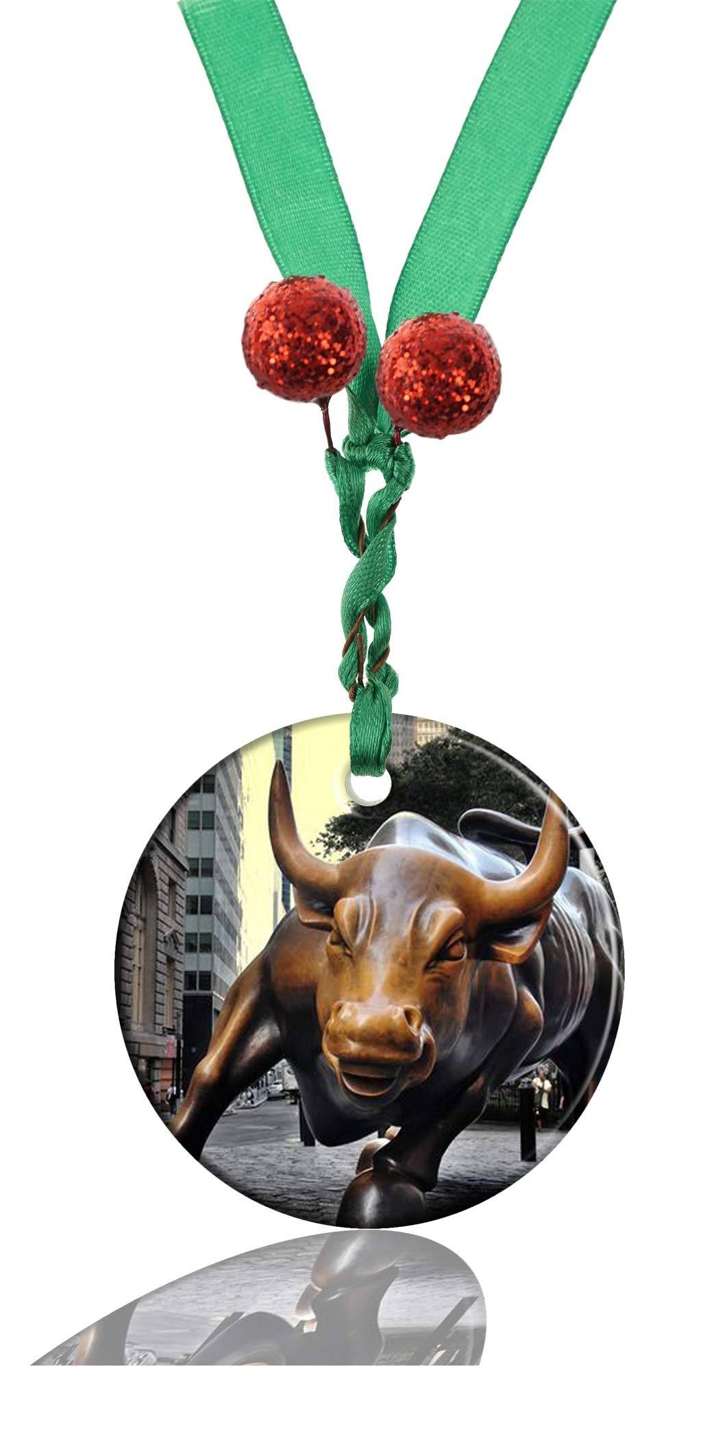 GDEE Custom New The Wall Street Charging Bull Personalized Round Porcelain Ornaments Christmas Ornaments Home Decoration