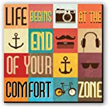 Seven Rays Life Begins at The End Fridge/Multipurpose Magnet for Home/Kitchen/Office, Multicolour, Dimension: 3 x 3 Inches