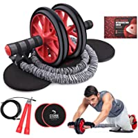Kamileo Ab Roller Wheel, 4-in-1 Ab Roller Kit with Knee Pad, Resistance Bands, Jump Rope, Core Sliders, Perfect Home Gym Equipment for Abdominal Exercise (Workout Guide Included)