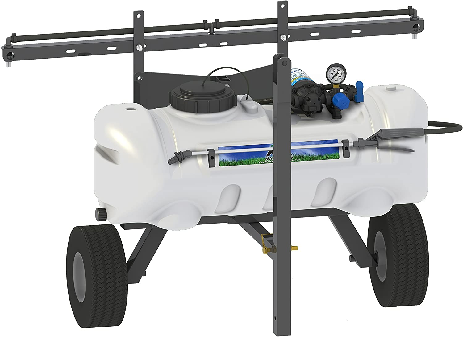 Master Manufacturing SNO-11-015A-MM 15 Gallon Trailer Broadcast & Spot Sprayer-Everflo 2.2GPM, 7 Foot Coverage