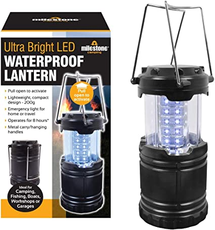 Milestone Camping Ultra Bright LED Waterproof Lanterns Camping Festival Outdoors Compact Pull up Handle