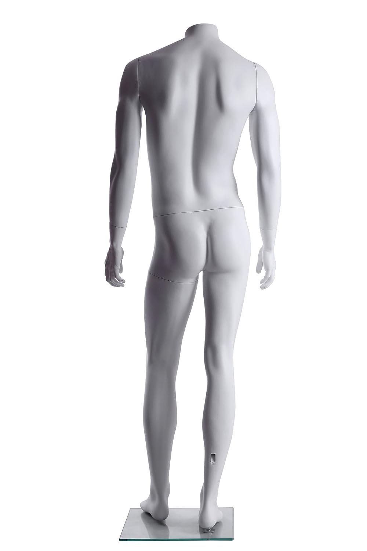 GM42H Brand New Male Fiberglass Abstract Headless Mannequin Matte White