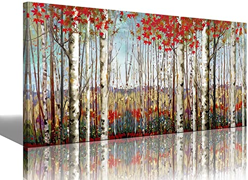 White Birch Forest Red Leaves Painting Canvas Wall Art Decor Autumn Wildlife Landscape Modern Artwork Decoration Living Room Bedroom Office Home