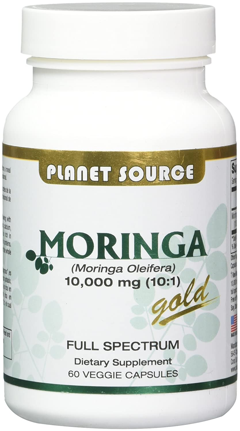 Amazon.com: Planet Source Moringa Oleifera Gold 60 Vegetable Capsules, Full Spectrum 10,000 mg.: Health & Personal Care