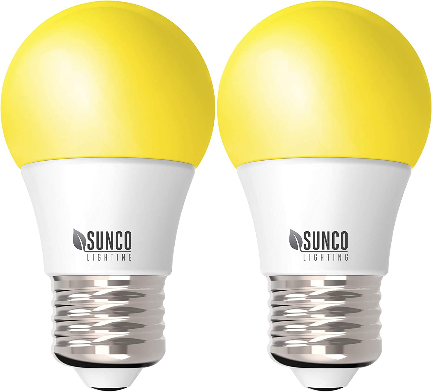 Sunco Lighting A15 LED Bulb, Yellow Light, 8W, Dimmable, Repellent, 2000K Amber Glow, Ideal for Outdoor Patio, Deck, Backyard, Porch, String Lights - 2 Pack
