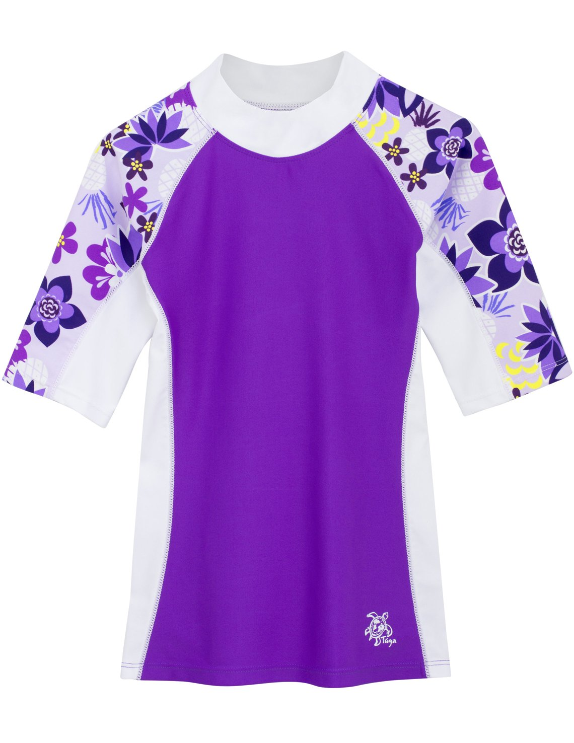 Girls Tuga Short Sleeve UV Swim Shirt Seaside Coral and Orchid 2-14 Years UPF50+ Sun Protection