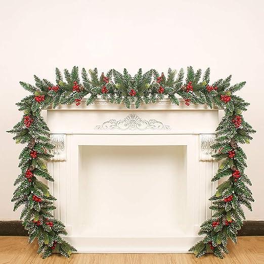 Corona de Navidad 9 pies guirnaldas de Navidad for Escaleras chimeneas Snow King abeto guirnalda con conos de pino verde artificiales de Navidad corona de Navidad decoraciones for árboles Guirnalda de: Amazon.es: