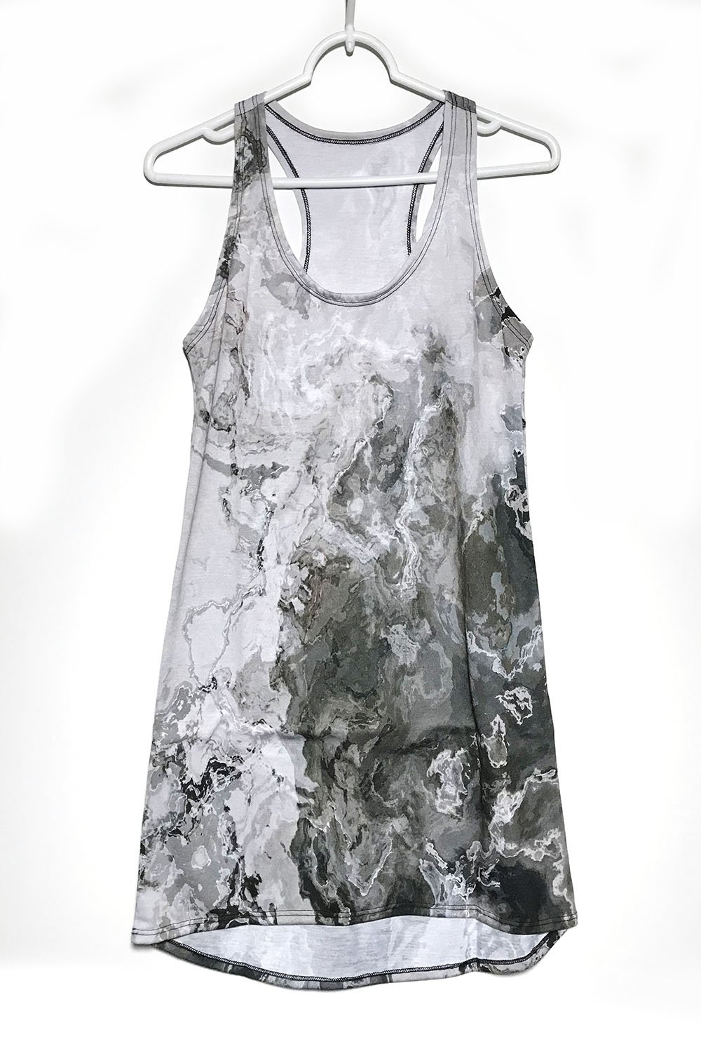 Racerback Mini Dress with wearable abstract art in warm gray, Geologic