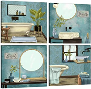 KALAWA Bathroom Canvas Wall Art Teal Blue Wall Decor Pictures Vintage Retro Great Gift Home Artwork 4 Pieces Posters Prints Stretched and Framed Ready to Hang - 12