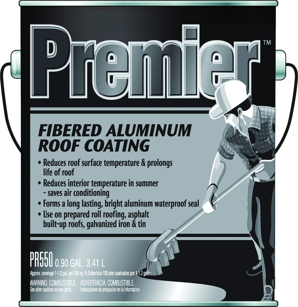 Henry Premier Fibered Aluminum Roof Coating, 1 gal, Liquid, Black, Petroleum, 0.90 SG, 105 deg F Flash Point