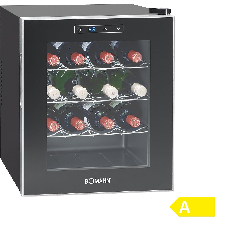 Bomann KSW 344 Weinkühlschrank Freistehend/A / 131 kWh/Jahr / 52.0 cm / 16 Flaschen/elektronische Temperatursteuerung und -einstellung/schwarz [Energieklasse A]