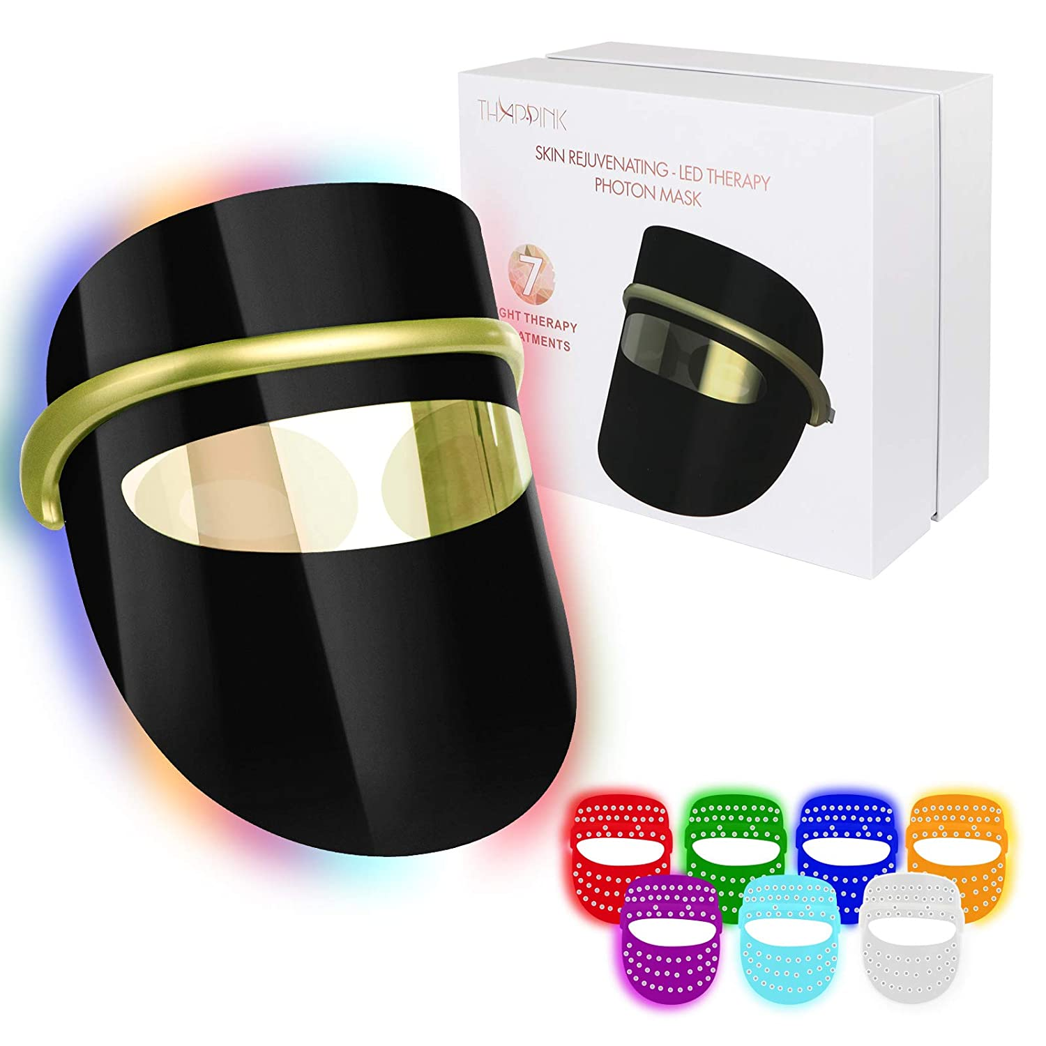7 Colors LED Light Therapy Face Mask, LED Light Therapy Mask Facial for Wrinkles Skin Rejuvenation Home Skin Care