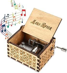 Womdee Music Box Tema Moon River, Manivela Artesanía De Madera con Caja De Música Clásica, Mecanismo De 18 Notas Caja De Música Antigua Tallada Regalos para Niños/Amigos/Adultos: Amazon.es: Hogar