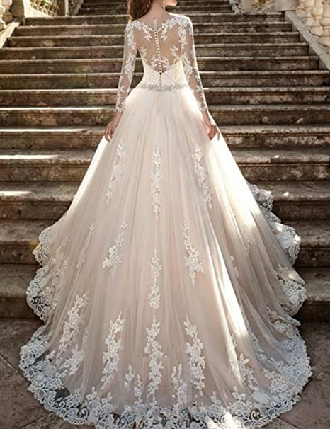 bcb29165474d Kevins Bridal Vintage Lace Wedding Dresses 2017 Long Sleeves Beaded Bridal  Gowns at Amazon Women's Clothing store:
