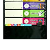 Daily Schedule Pocket Chart, Black Class Schedule with 26 Cards, 13+1 Pockets. 13 Colored + 13 Blank Double-Sided Reusable Cards, Easy Over-Door Mountings