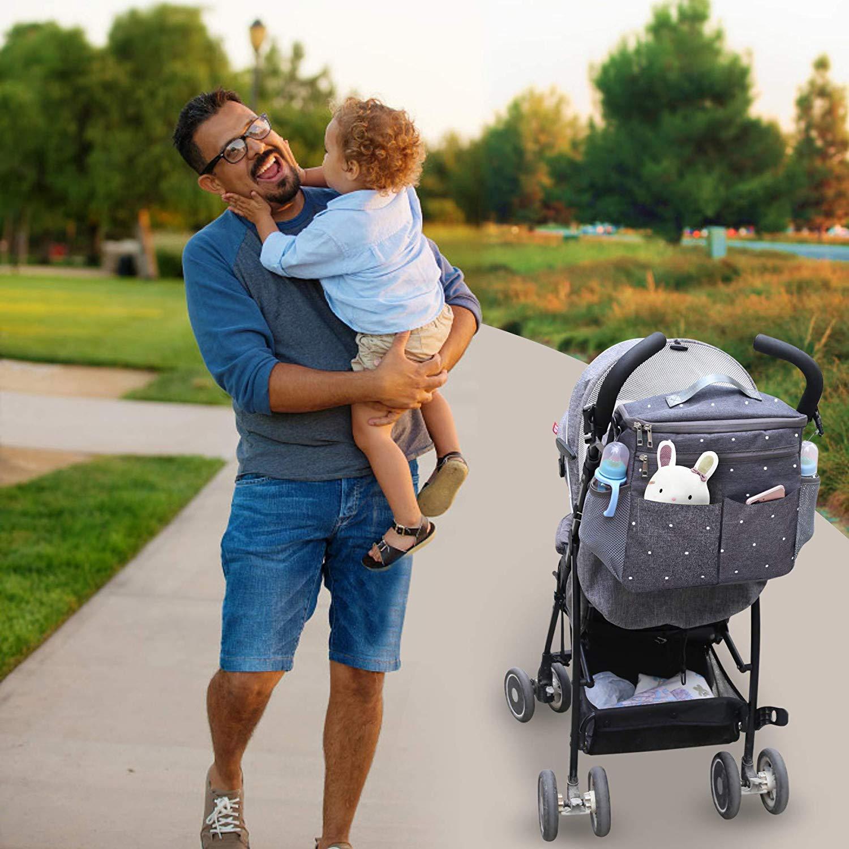 Parents Stroller Organizer Travel Bag with Shoulder Strap Insulated Bottle Holder Lightweight Design Storage Pockets for Bottles,Diapers,Toys,Saliva Towel-Fits All Baby Stroller Models White Dots