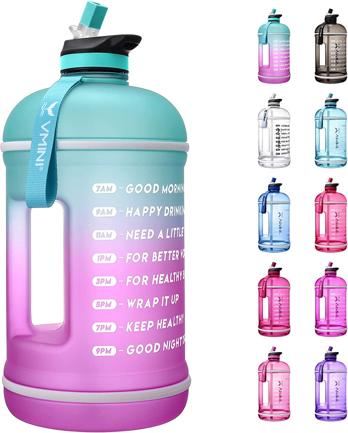 Vmini Water bottler with Time Marker, Motivational Water bottle & 1 Gallon Water Bottle with Time Marker to Drink More Daily - Leakproof Reusable Gym Sports Outdoor Large Capacity (Mint and Purple)
