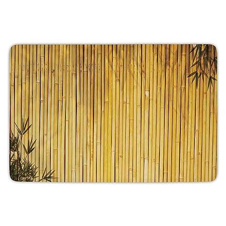 Bathroom Bath Rug Kitchen Floor Mat Carpet,Bamboo,Tall Bamboo Stems And  Leaves Oriental
