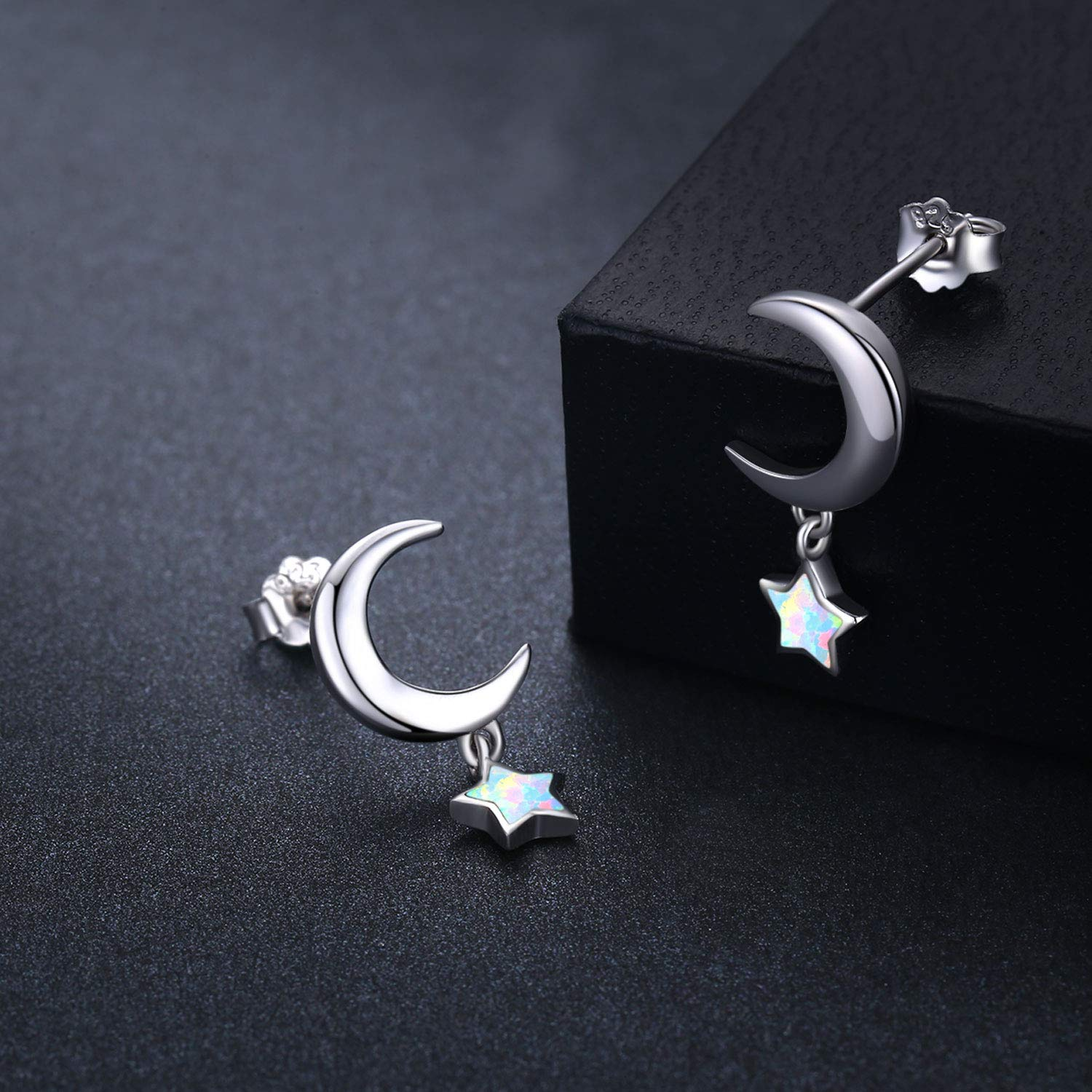 Sterling Silver Nose Stud Opal Star Star Earrings Star Necklace for Women 20 Gauge Nostril Ring Nose Body Piercing Jewelry Gifts