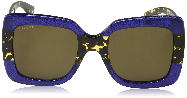 1156adc25ad Amazon.com  Gucci 0083S 003 Blue Havana Brown GG0083S Sunglasses  Clothing