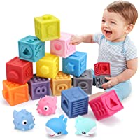 OWNONE 1 Baby Soft Blocks, 16PCS Stacking Building Blocks, Teething & Squeezing Toys for Babies, Cube Blocks with…