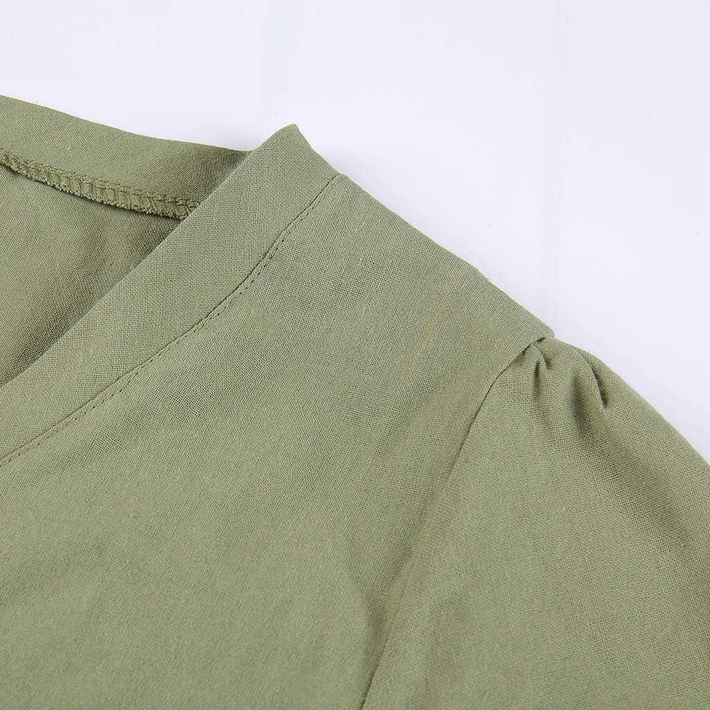 Womens Cotton Linen Dress Loose Pleated Flax Dresses Plus Size Tshirt Dress Summer Casual Short Sleeve Knee Length Flowy Midi Linen Dress Soft Breathable Boho Sundress