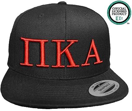 1a0223dc747 Amazon.com  PI KAPPA ALPHA Flat Brim Snapback Hat Red Letters   Pike ...