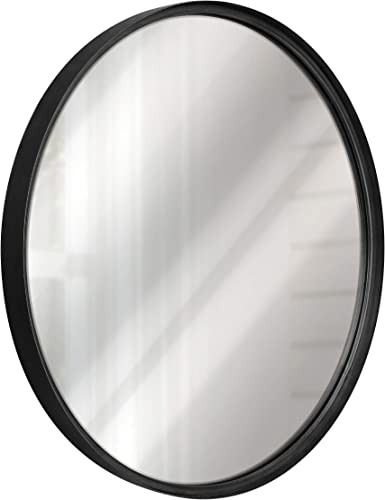 Black Round Wall Mirror – 27.5 Inch Large Round Mirror, Rustic Accent Mirror For Bathroom, Entry, Dining Room, Living Room. Metal Black Round Mirror For Wall, Vanity Mirror Large Circle Wall Mirror