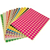 LJY Round Dot Stickers Color Coding Labels, 12 Different Assorted Colors Dot Labels, 12 Sheets 10mm