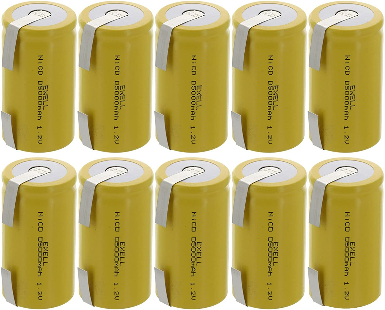 10X Exell D Size 1.2V 5000Mah Nicd Rechargeable Batteries mit Tabs für Meters, Radios, Hybrid Automobiles, hoch Power Static Applications (Telecoms, Ups und Smart Grid), Radio Controlled Devices