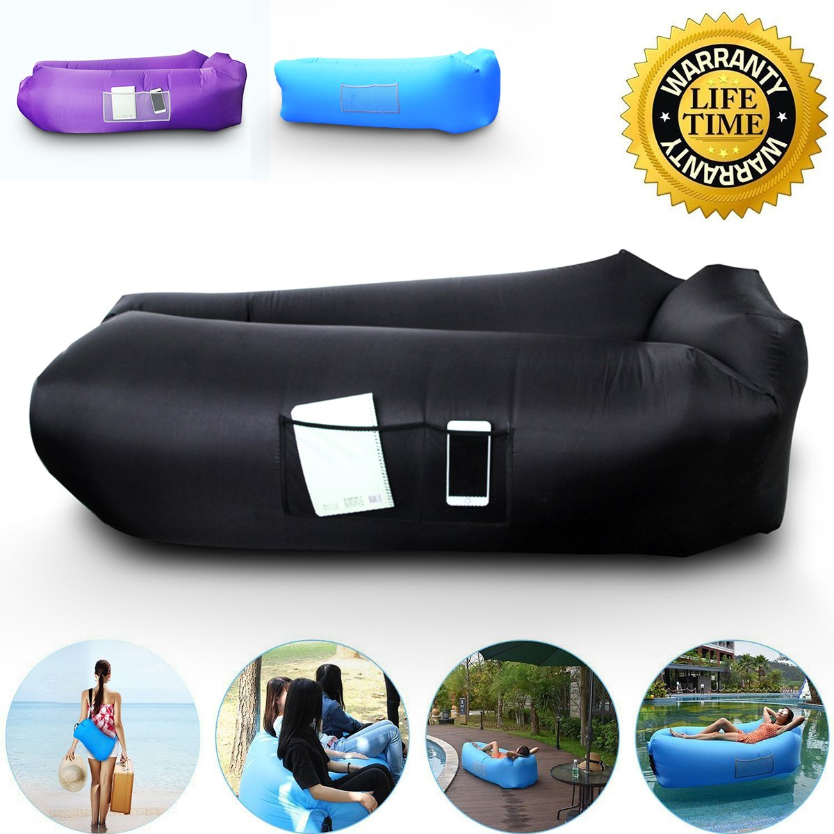 Fine Anglink Outdoor Inflatable Lounger Couch Thick Durable Comfortable Air Sofa Blow Up Lounge Sofa Carrying Bag Travelling Camping Hiking Park Pool Gmtry Best Dining Table And Chair Ideas Images Gmtryco