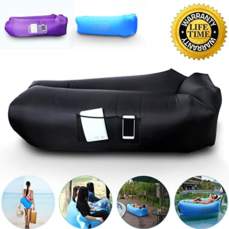 Camping & Hiking Flight Tracker Inflatable Lounger Chair Air Lounger Inflatable Bag Fast Inflate Air Sofa Sleeping Bed For Travelling Camping Park Hiking Pool