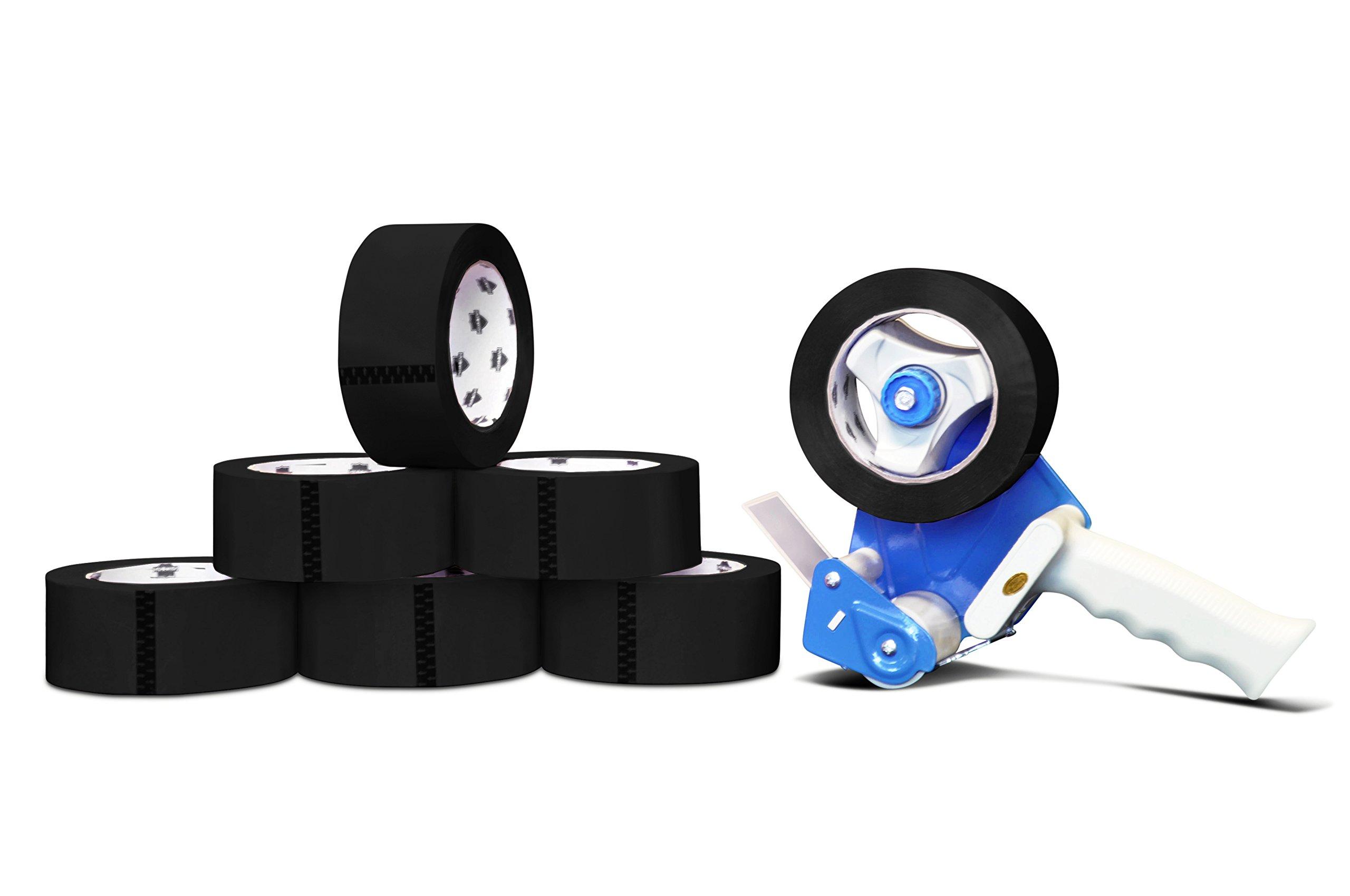 Colored Premium Grade Packaging Tape: 2 in. x 55 yds. 2 Mil (Black) 216 Rolls by PackagingSuppliesByMail + Free Dispenser