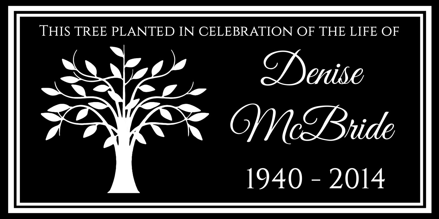 Lazzari Collections Custom Made Personalized Tree Memorial 12x6 Inch Engraved Black Granite Grave Marker Headstone Plaque by Lazzari Collections (Image #1)