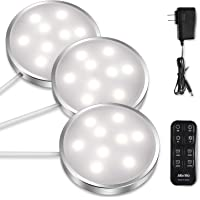 Albrillo 3-Pack 4000K LED Puck Lights with Remote Control