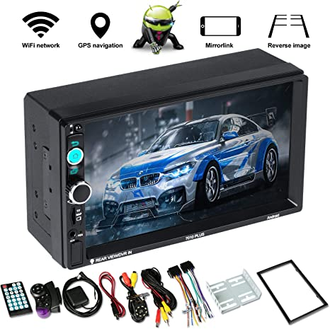 Radio Car 2 Din Android 8.1 Car Stereo with Bluetooth Universal 7 Touchscreen Car Stereo Support GPS Navigation//WiFi//Android//iOS Mirror Link//Reverse Camera 1+16G FM//USB//TF//AUX Car Mp5 Player