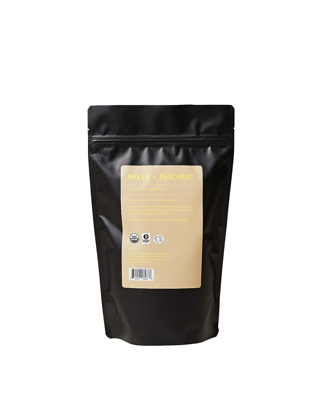Maker + Merchant | 100% Pure, Certified Organic Carnauba Wax - Sustainable, Vegan, Perfect for DIY Skincare (1 lb)
