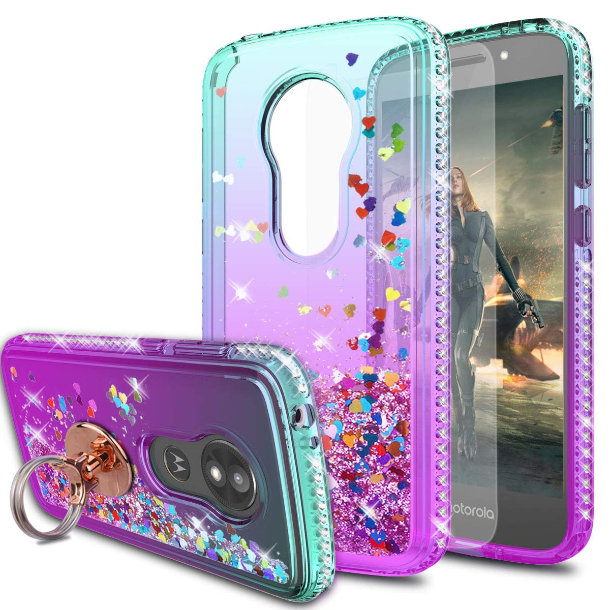 Moto E5 Play Case,Moto E5 Cruise/ XT1921 Cases with HD Screen Protector with Ring Holder,KaiMai Glitter Moving Quicksand Clear Cute Shiny Phone Case for Moto E5 Play-Aqua/Purple Ring by KaiMai