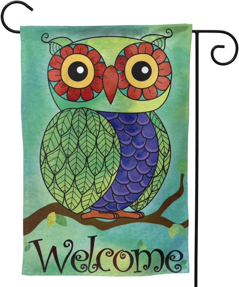 YISHOW Rainbow Owl Tree Garden Flag Double Sided Vertical House Flags Rainbow Owl Tree Yard Signs Outdoor Decor 12.5 X 18 Inch