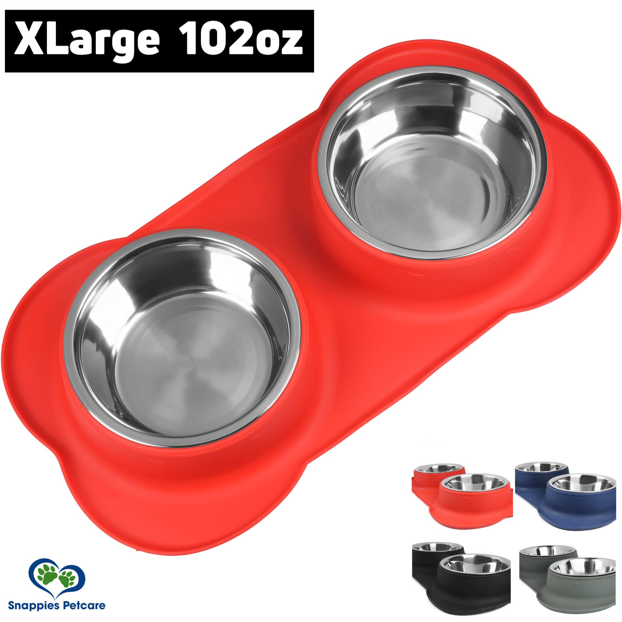 Large Dog Bowl - 2 Large Capacity 51oz (102oz Total) Removable Stainless Steel Bowls Set in a Stylish No Mess, No Spill, Non Skid, Silicone Mat. Food & Water Bowl for Medium to Large Dogs (Red)