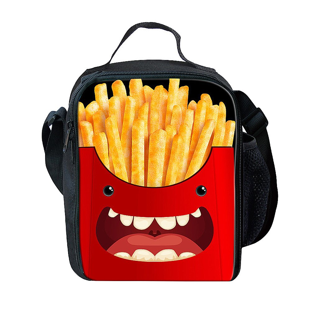 AoMagic 3D Lunch Bag Students Lunch Boxes Outdoor Travel Portable Meal Package French Fries