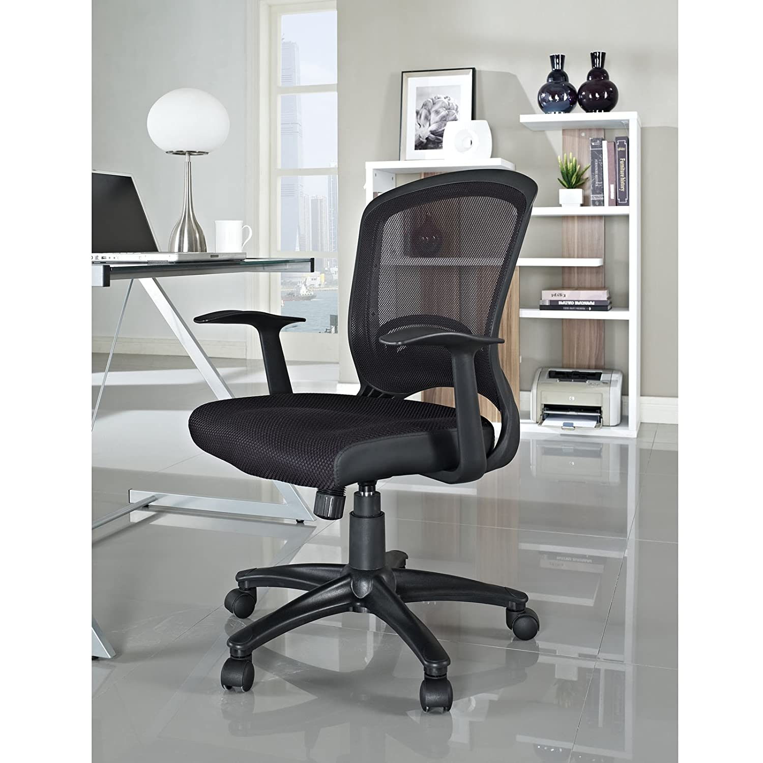 Amazon Com Leo Task Black Mesh Office Chair With Height