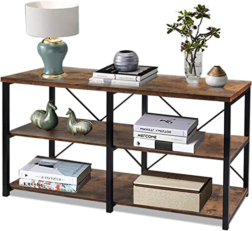 Rustic Sofa Table, Industrial Console Sofa Table, TV Table with 3 Tire 55IN Open Shelf for Hallway, TV Stand, Behind Sofa, Entryway