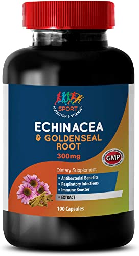 Immunity Boosting Vitamins for Adults - Echinacea Extract Goldenseal Root 300 Mg Complex - Immune Powder - 1 Bottle 60 Capsules