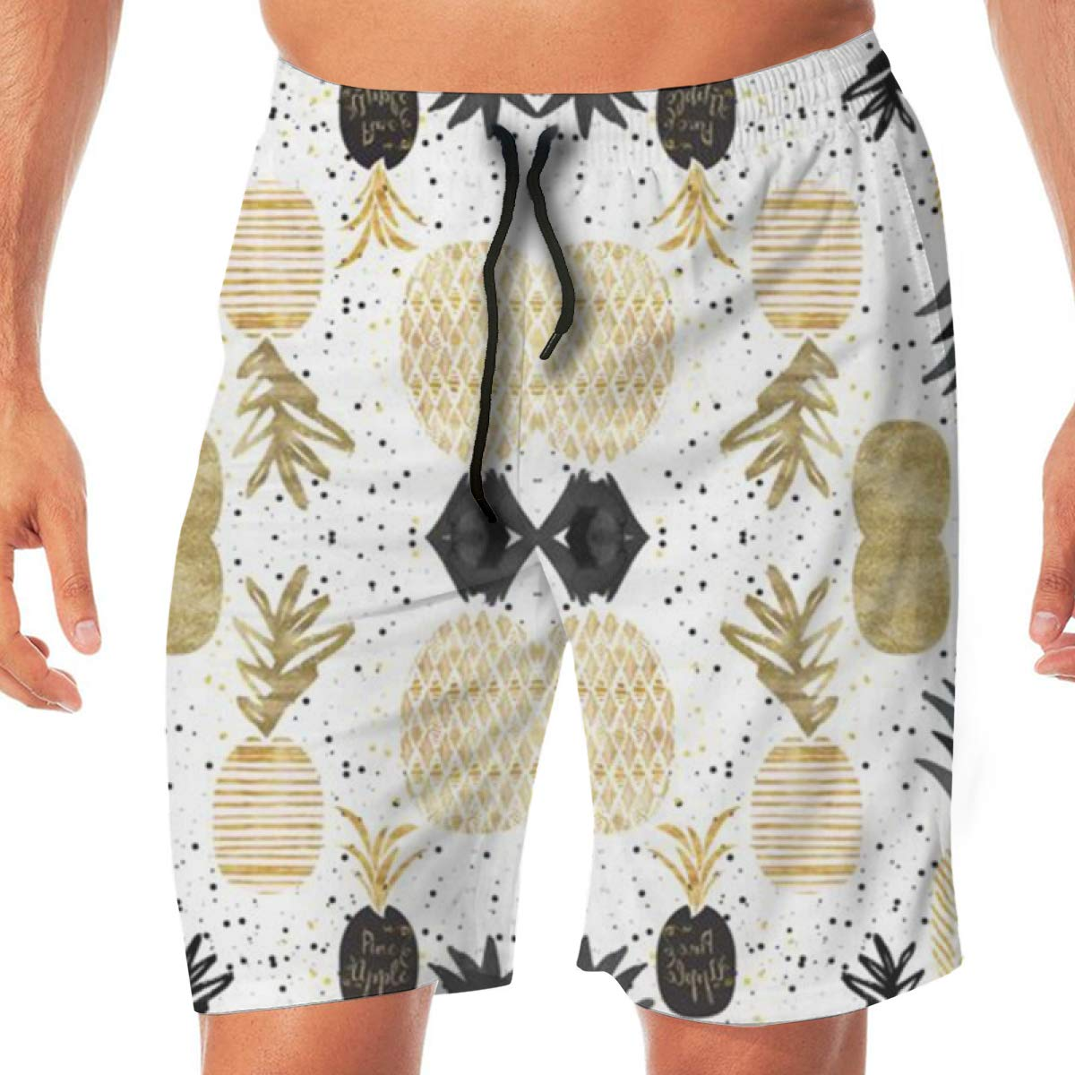 TR2YU7YT Golden Pineapples Casual Mens Swim Trunks Quick Dry Printed Beach Shorts Summer Boardshorts Bathing Suits with Drawstring