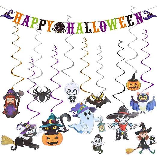 HQKJ Decoración de Halloween Kit de Tarjetas de Remolino Colgantes Tema de Miedo Sombrero de Brujas Murciélago araña Calabaza Fantasma Banner de Feliz ...