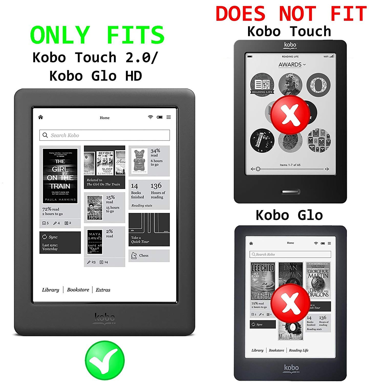 Forefront Cases Kobo GLO HD (N437) Funda Carcasa Smart Case Cover ...