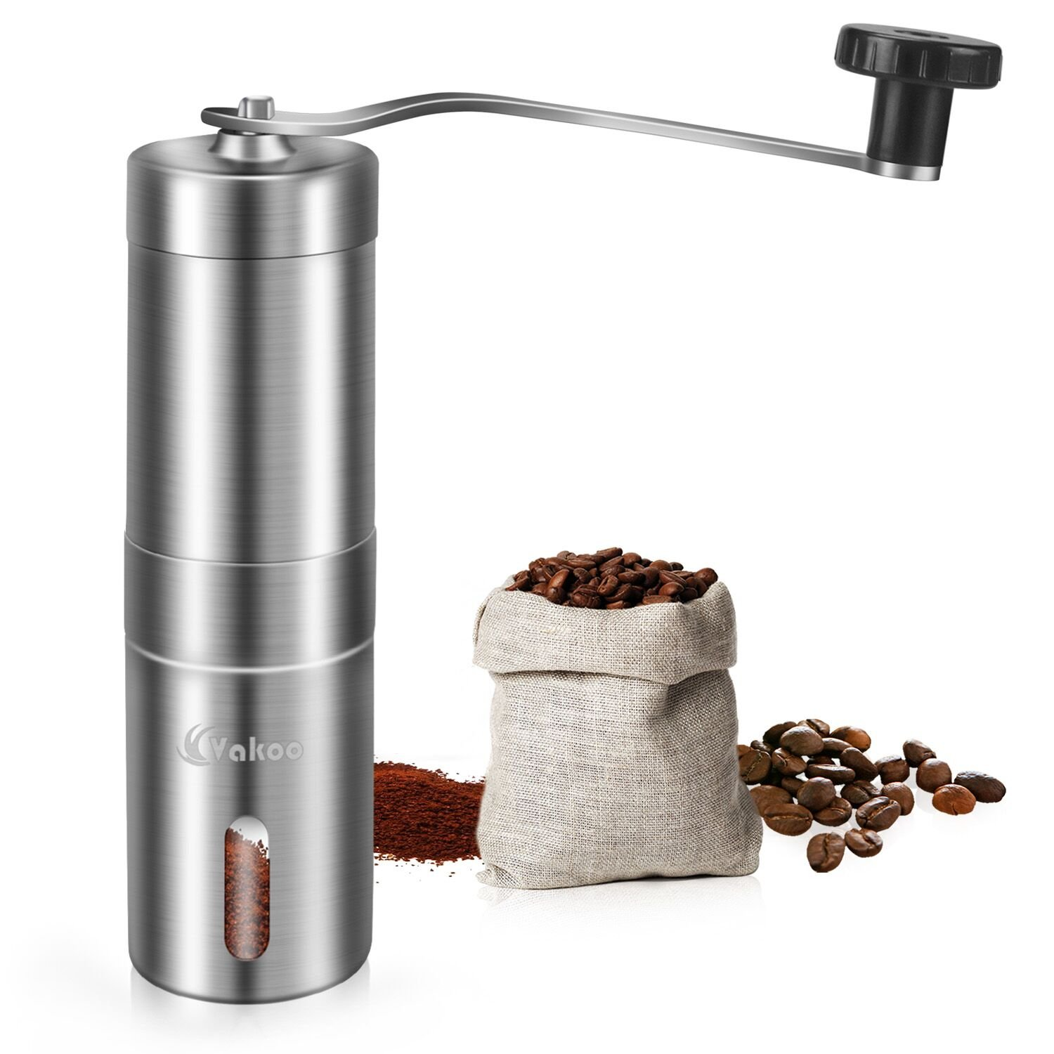 Vakoo Manual Coffee Grinder, Portable Burr Coffee Grinder with Adjustable Conical Burr Mill for French Press, Turkish, Handheld Mini, K Cup, Brushed Stainless Steel