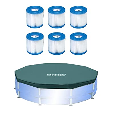 Intex Pool Filter (6 Pack) with Intex 10-Foot Round Above Ground Pool Cover : Garden & Outdoor
