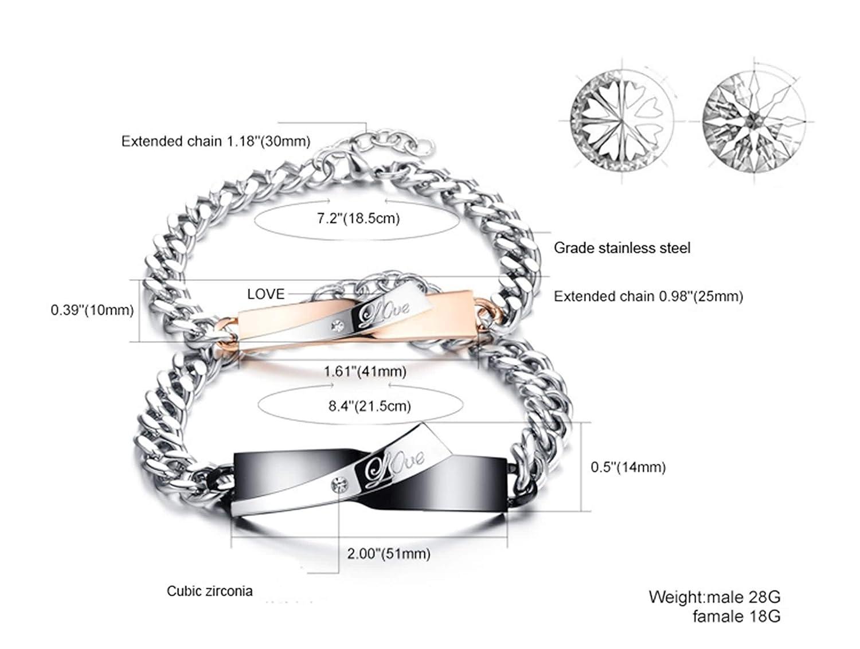 Unisex-Adult Stainless Steel Bracelet Aokarry Jewelry Bangle Bracelet Cubic Zirconia Love Letter